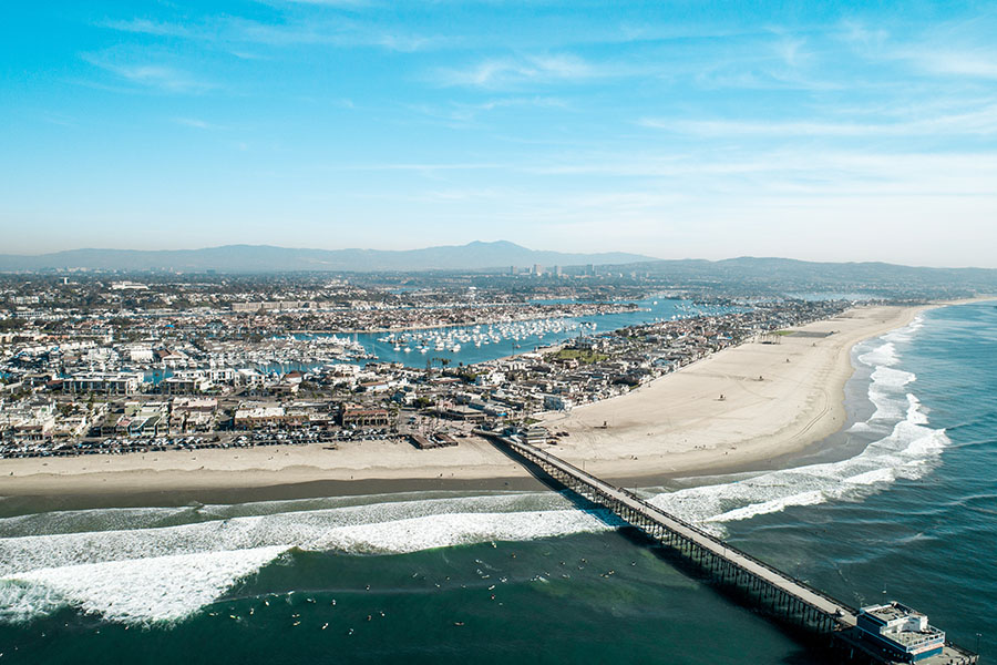 California - Aerial View of Newport Beach in California